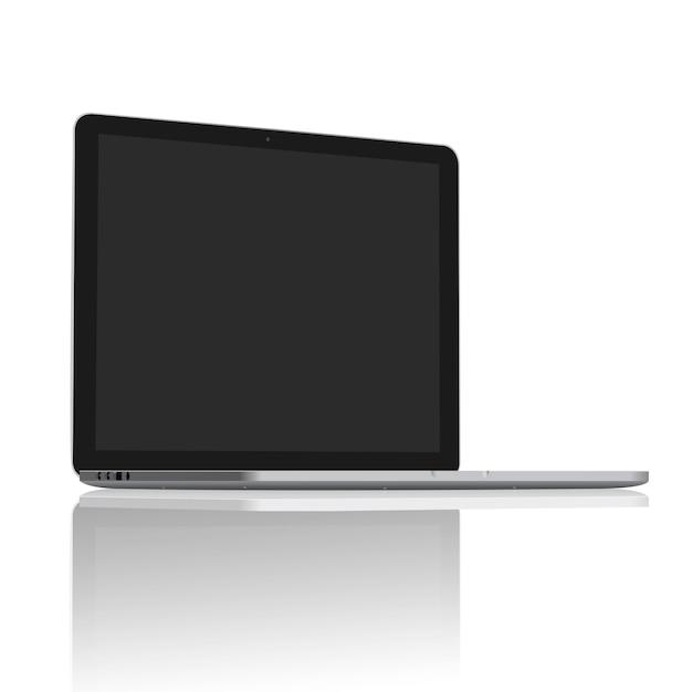 Realistyczny laptop pusty ekran ustawiony na 45 stopni Premium Wektorów