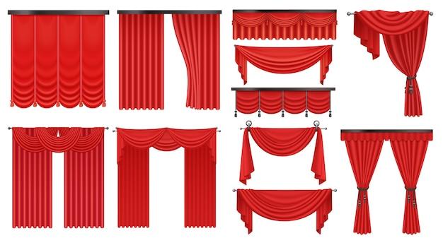 Realistyczny Luksusowy Szkarłatny Czerwony Jedwab, Drogie Aksamitne Zasłony Draperie Ustawione Na Białym Tle. Premium Wektorów