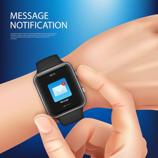 Realistyczny Mądrze Zegarka Wiadomości Powiadomienia Nowego Skład Z Obsługuje Rękę Z Zegarka Wektoru Ilustracją Darmowych Wektorów
