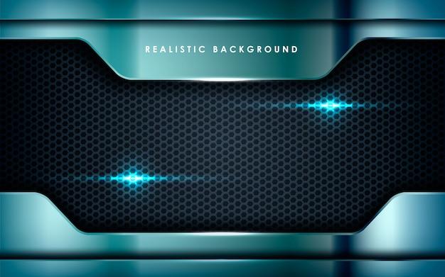 Realistyczny metalik ze światłami na czarno Premium Wektorów