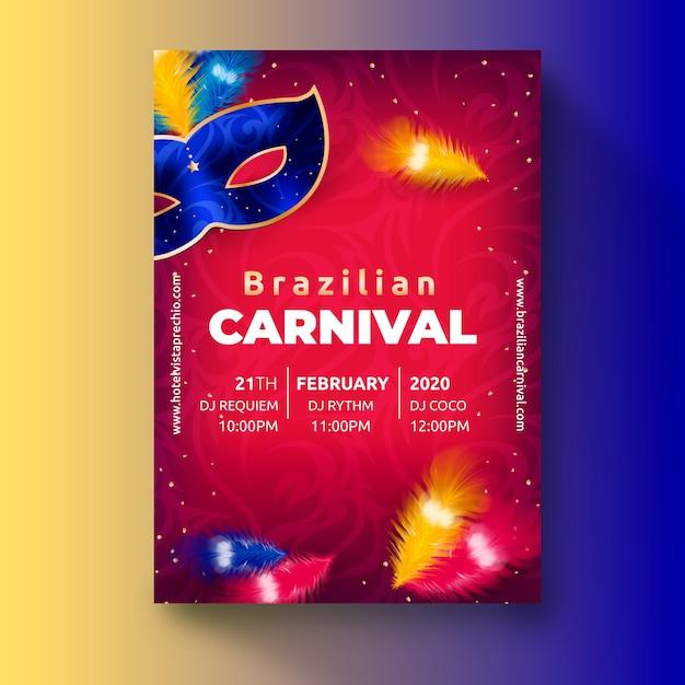 Realistyczny Motyw Brazylijskiego Karnawału Szablon Ulotki Darmowych Wektorów