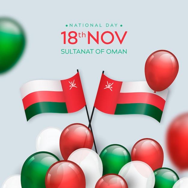 Realistyczny Narodowy Dzień Omanu Premium Wektorów