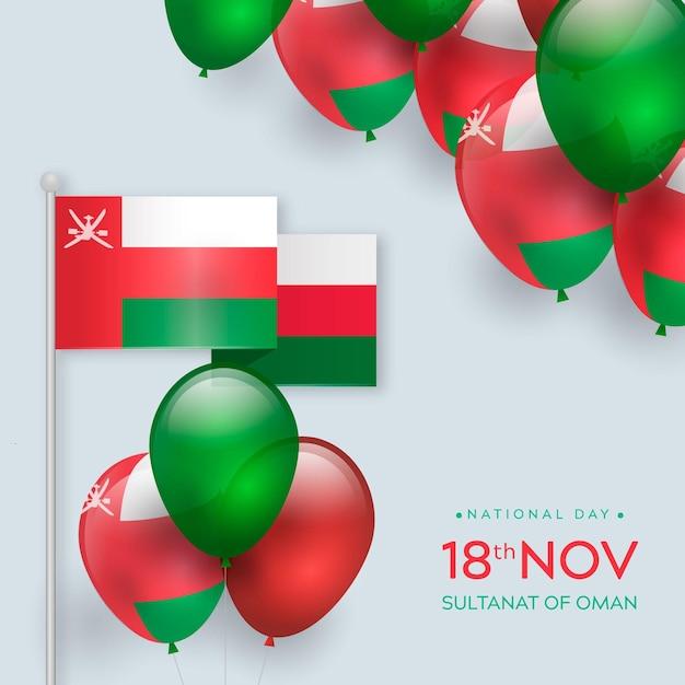Realistyczny Narodowy Dzień Omanu Darmowych Wektorów