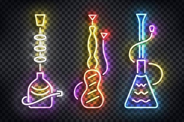 Realistyczny Neonowy Znak Logo Fajki Wodnej Do Dekoracji Szablonu I Pokrycia Na Przezroczystym Tle. Premium Wektorów