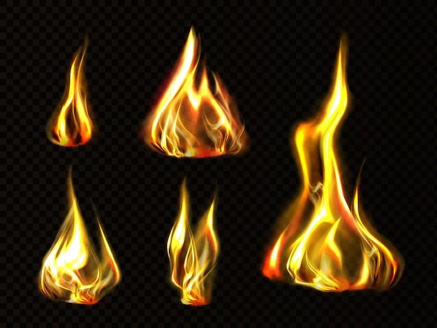 Realistyczny Ogień, Płomień Pochodni Zestaw Na Białym Tle Clipart Darmowych Wektorów