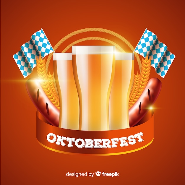 Realistyczny Oktoberfest Na Tle Piwa Darmowych Wektorów