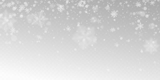Realistyczny Padający śnieg Z Białymi Płatkami śniegu, Efekt świetlny. Darmowych Wektorów