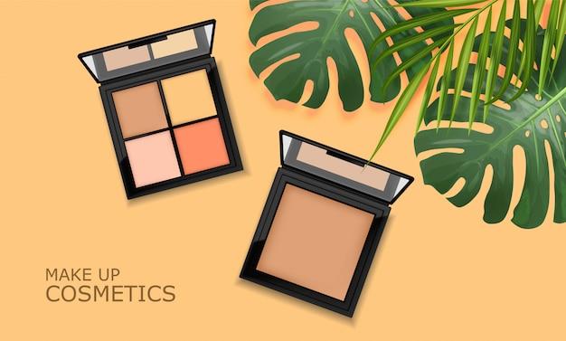 Realistyczny Pakiet Cieni Do Powiek, Makijaż Palety Opakowań, Eleganckie Kosmetyki, Transparent Z Tropikalnymi Liśćmi Premium Wektorów