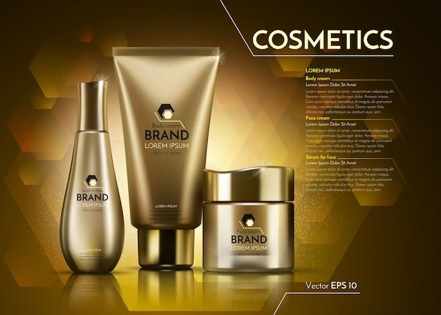 Realistyczny Pakiet Reklamowy Gold Cosmetics. Premium Wektorów
