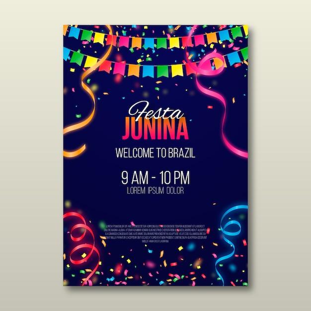 Realistyczny Plakat Festa Junina Darmowych Wektorów