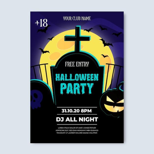 Realistyczny Plakat Party Halloween Darmowych Wektorów