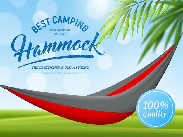 Realistyczny Plakat Reklamowy Hamak I Gałąź Palmy Na Zielony Niebieski Z Efektem Bokeh Darmowych Wektorów