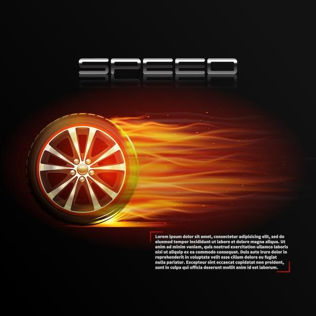 Realistyczny płonący koło opony sporta prędkości ekstremalny plakat Darmowych Wektorów