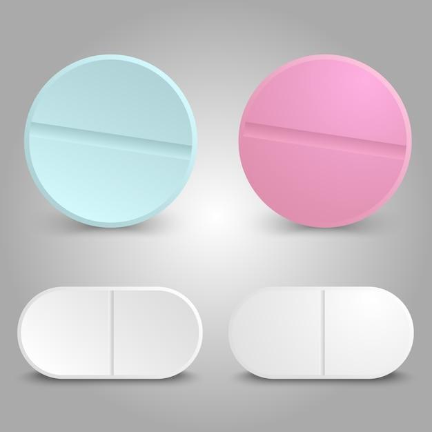 Realistyczny projekt leku - zestaw pigułek leczniczych Premium Wektorów