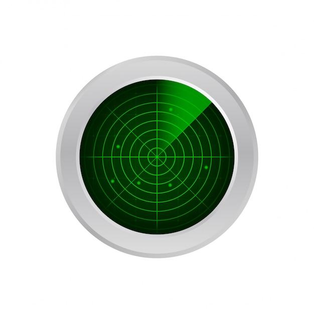 Realistyczny Radar W Wyszukiwaniu. Ekran Radaru Z Celami. Ilustracji. Premium Wektorów