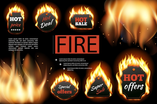 Realistyczny Skład Etykiet Gorącego Ognia Darmowych Wektorów