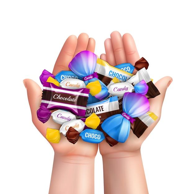 Realistyczny Skład Z Rozsypiskiem Różnorodni Czekoladowi Cukierki W Dziecku Wręcza Ilustrację Darmowych Wektorów