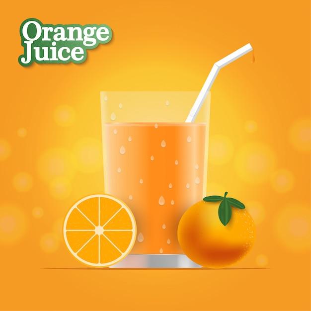 Realistyczny Sok Pomarańczowy Premium Wektorów