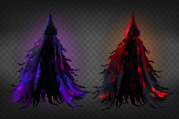 Realistyczny strój czarownicy z kapturem, czarna poszarpana peleryna z czerwoną i fioletową poświatą Darmowych Wektorów