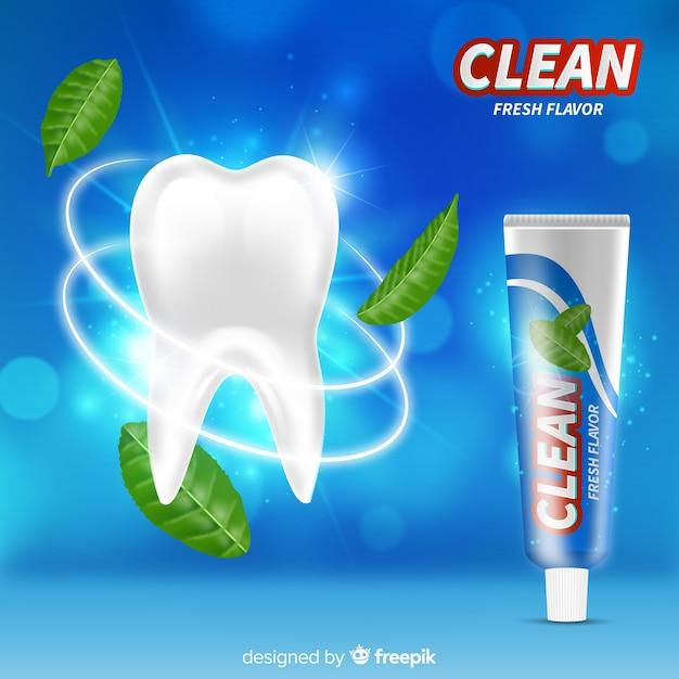 Realistyczny Styl Reklamy świeżej Pasty Do Zębów Darmowych Wektorów