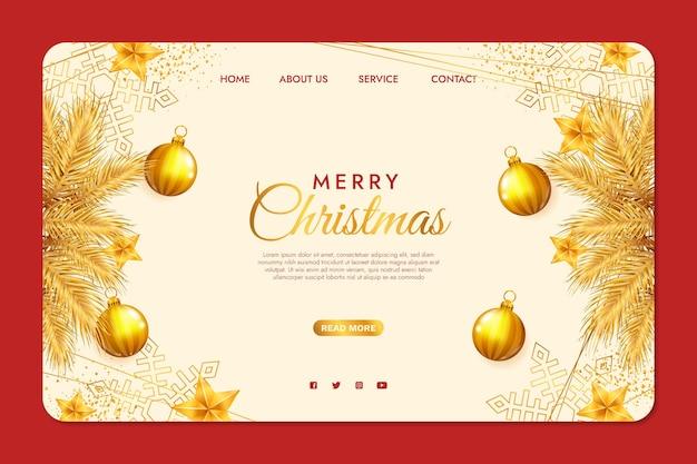 Realistyczny świąteczny Szablon Strony Docelowej Darmowych Wektorów