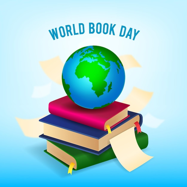 Realistyczny światowy Dzień Książki Z Planetą I Stosem Książek Darmowych Wektorów