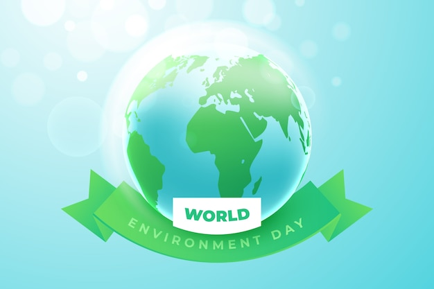 Realistyczny światowy Dzień środowiska Z Ziemią Darmowych Wektorów