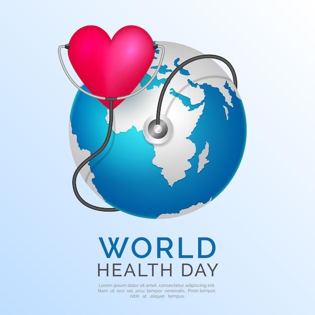 Realistyczny światowy Dzień Zdrowia Z Planetą I Sercem Darmowych Wektorów