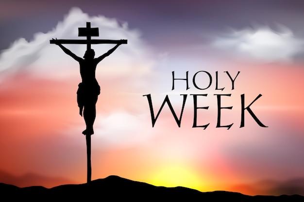 Realistyczny święty Tydzień Z Jezusem Na Krzyżu Premium Wektorów