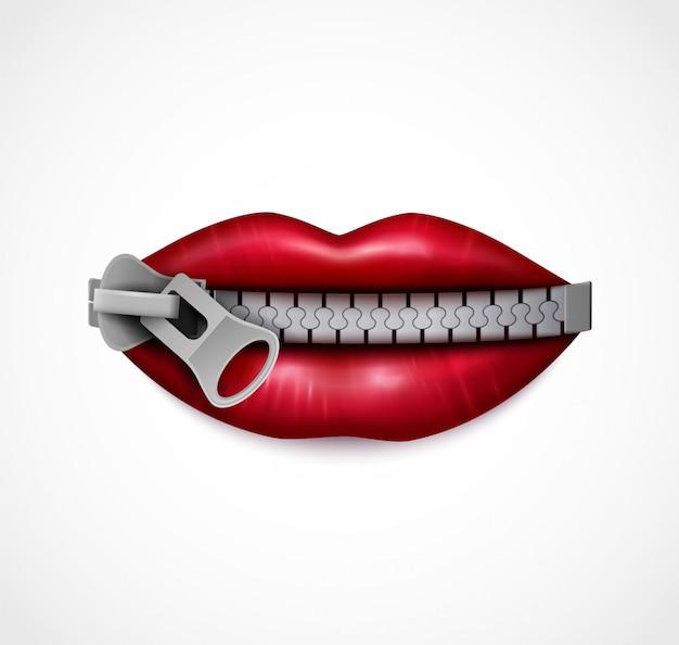 Realistyczny Symboliczny Wizerunek Czerwonych Błyszczących Ust Zamkniętych Metalowym Zamkiem Błyskawicznym Darmowych Wektorów