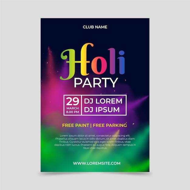 Realistyczny Szablon Pionowego Plakatu Festiwalu Holi Premium Wektorów