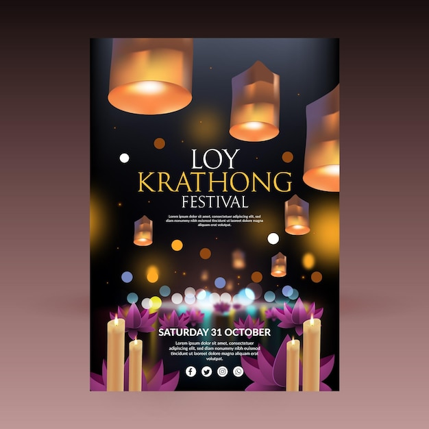 Realistyczny Szablon Plakatu Loy Krathong Premium Wektorów