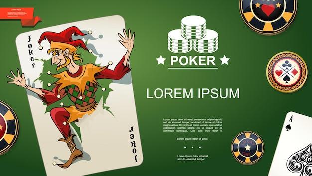 Realistyczny Szablon Pokera Z Jokerem I Asem Pik Do Gry W Karty I żetony Na Tle Zielonego Stołu W Kasynie Darmowych Wektorów
