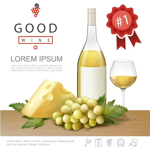 Realistyczny Szablon Premium Alkoholu Z Butelką I Kieliszkiem Pełnym Białego Wina I Kiści Winogron Ilustracji Darmowych Wektorów