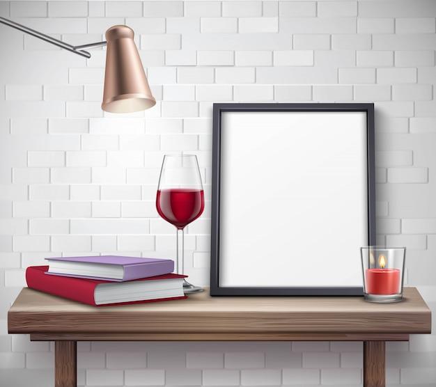 Realistyczny Szablon Ramki Na Stole Z Lampką Wina świeca Lampy I Książek Darmowych Wektorów