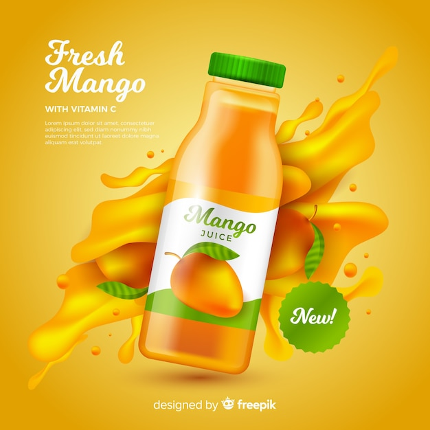 Realistyczny Szablon Reklamy Sok Z Mango Darmowych Wektorów
