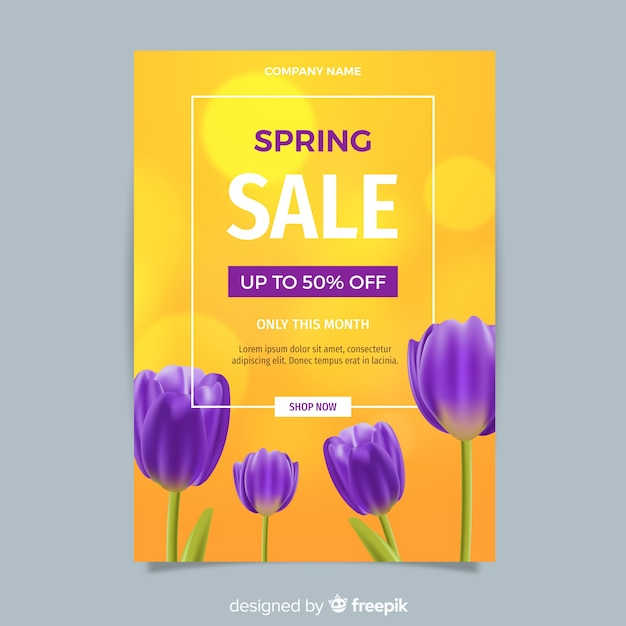 Realistyczny szablon sprzedaż ulotki wiosna Darmowych Wektorów