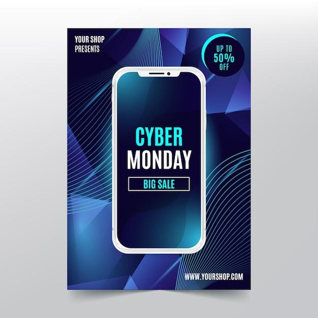 Realistyczny Szablon Ulotki Cyber Poniedziałek Darmowych Wektorów