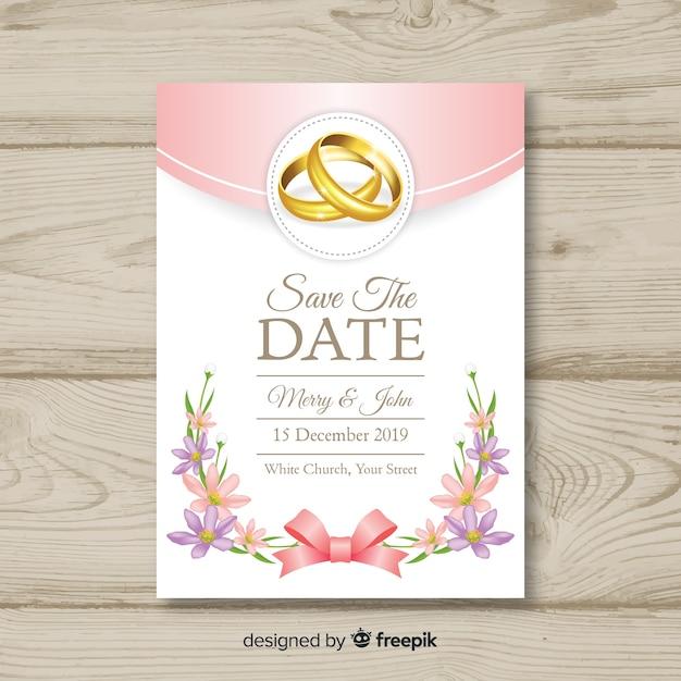 Realistyczny szablon zaproszenia ślubne Darmowych Wektorów
