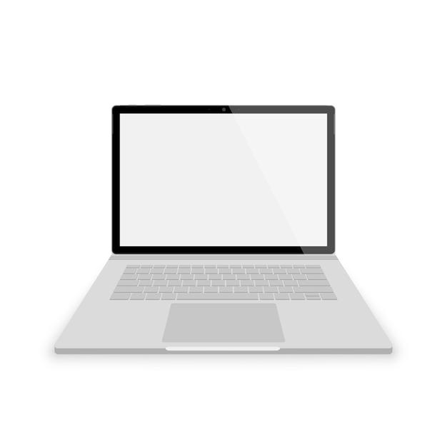 Realistyczny Szary Widok Z Przodu Laptopa. Ilustracje Na Białym Tle. Laptop Z Pustym Scrin Premium Wektorów