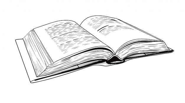 Realistyczny Szkic Otwartej Książki | Premium Wektor