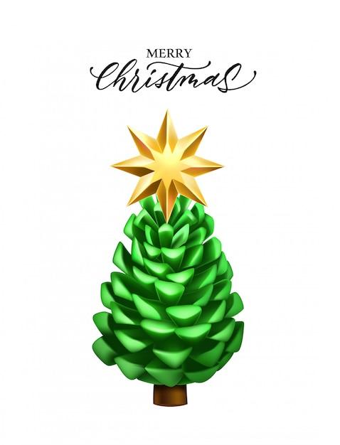 Realistyczny Szyszka Boże Narodzenie Nowy Rok Premium Wektorów