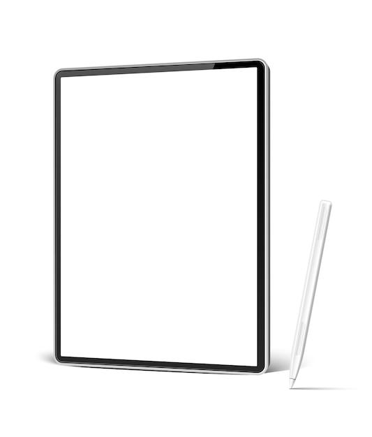 Realistyczny Tablet Z Białym Piórem Do Grafiki Cyfrowej I Szkicowania. Premium Wektorów