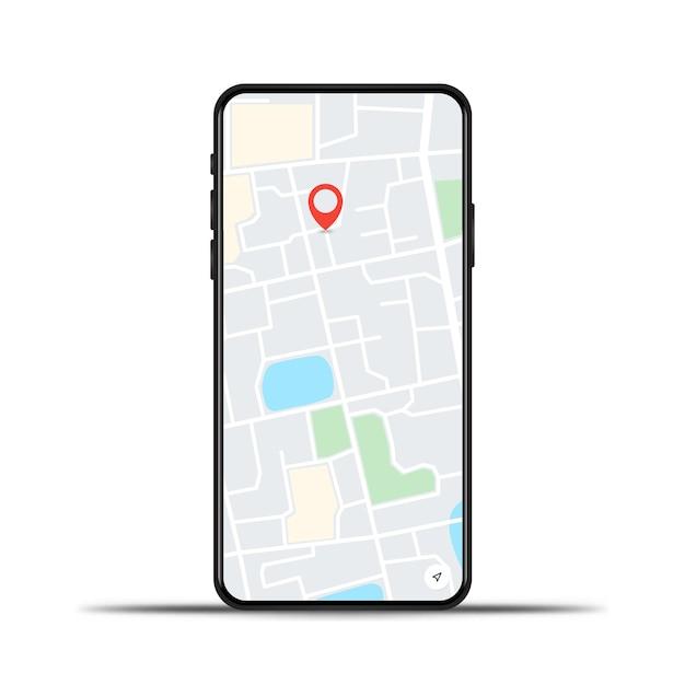 Realistyczny Telefon Z Mapą Gps Na Białym Tle Premium Wektorów