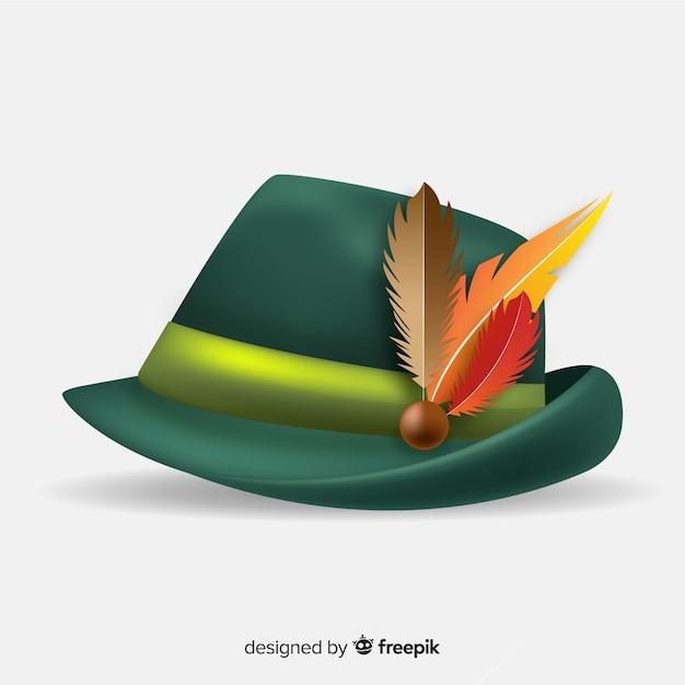 Realistyczny tradycyjny kapelusz oktoberfest Darmowych Wektorów