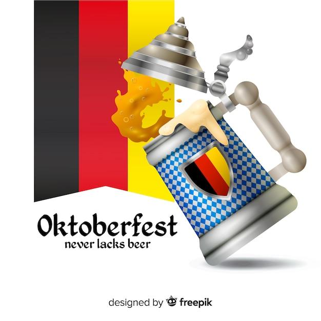 Realistyczny Tradycyjny Kubek Piwa Oktoberfest Darmowych Wektorów