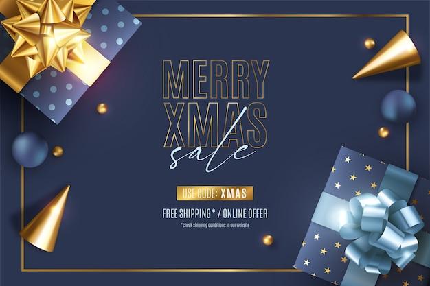 Realistyczny Transparent świątecznej Sprzedaży Z Eleganckimi Ozdobami Darmowych Wektorów