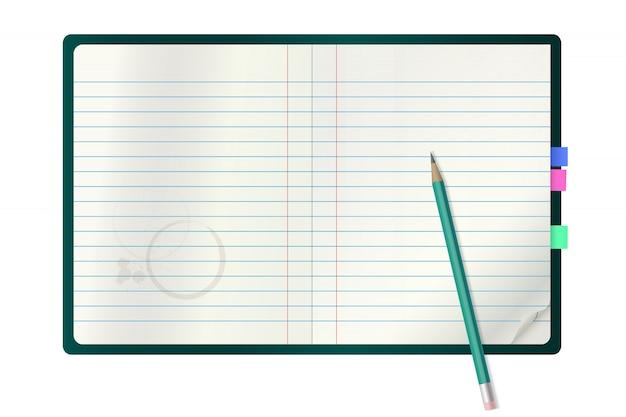 Realistyczny Wektorowy Notatnik I Ołówek. Premium Wektorów
