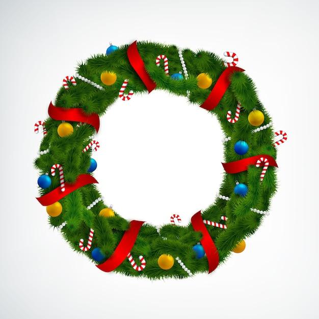 Realistyczny Wieniec Bożonarodzeniowy Ozdobiony Czerwonymi Wstążkami, Cukierkami I Bombkami Na Białym Tle Darmowych Wektorów