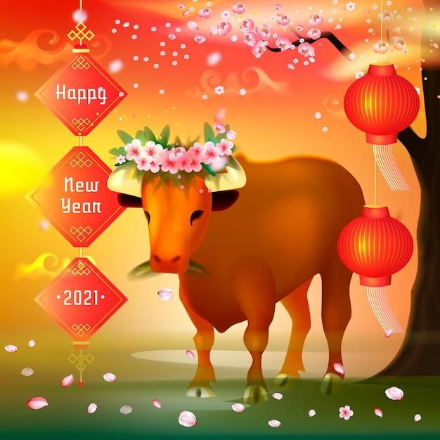 Realistyczny Wietnamski Nowy Rok Z Bykiem Darmowych Wektorów